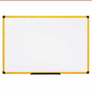 Mastervision Industrial Magnetic Steel Dry Erase Whiteboard 48 X 36 Yellow