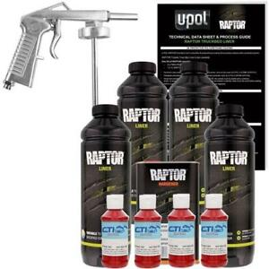 U Pol Raptor Hot Rod Red Urethane Spray On Truck Bed Liner W Free Spray Gun 4 L