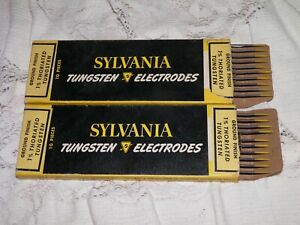 Vintage Lot Of 2 Tig Welder 1 6 By 7 Yellow 1 Thoriated Tungsten Sylvania Nos