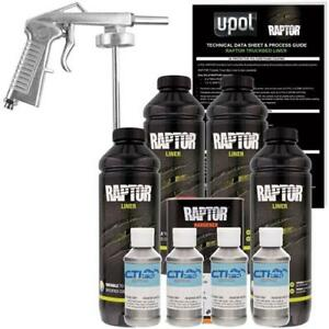 Upol Raptor Pewter Metallic Urethane Sprayon Truck Bed Liner W Free Spray Gun 4l
