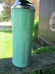 Coca-Cola Jadeite Green Glass And Stainless Straw Holder/Dispenser- BRAND NEW