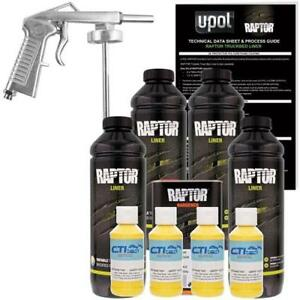 U Pol Raptor Safety Yellow Urethane Spray On Truck Bed Liner W Free Spray Gun 4l