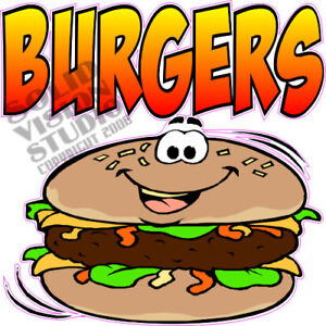 Burgers Hamburger Cheeseburger Concession Food Truck Vinyl Sticker Menu Decal