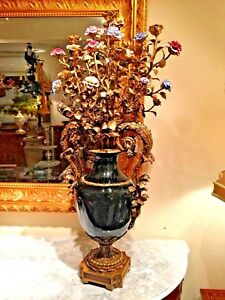 Antique Style French Bronze And Porcelain Candelabra With Flowers
