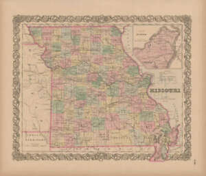 Missouri Vintage Map Colton 1856 Original