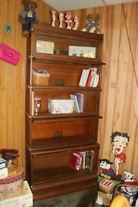 Antique Globe Wernicke Company 5 Section Barrister Bookcase