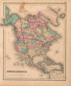 North America Antique Map Original Decor History Gift Ideas Colton Gw 1857