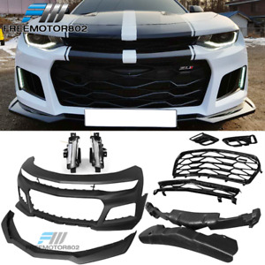 Fits 16 18 Chevy Camaro Front Bumper Cover Pair Drl Fog Lights W o Turn Signal