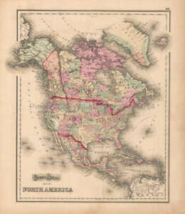 West Indies North America Antique Map Original Decor History Gift Gray 1873