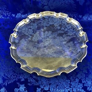 English Elkington Co Silver Plate 12 Footed Salver Serving Tray England