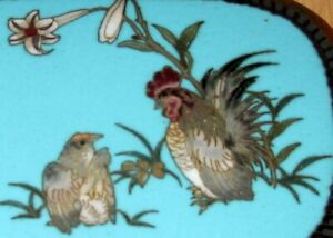 Fine Antique Japanese Silver Wire Cloisonne Enamel Box W Rooster And Hen Rare