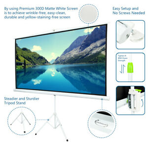 100 Tripod Portable Projector Projection 16 9 Screen 87 X 49 Foldable White