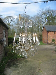 French Antique 6 Branch Chandelier Crystal Drops Superb 4115