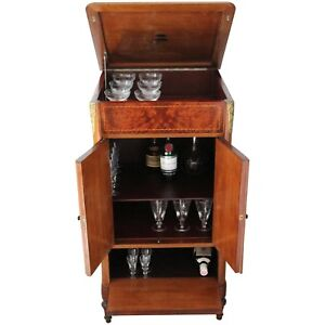 Arte Deco Antique Gramophone Burr Walnut Cabinet Transformed Into Bar Cabinet