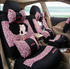 19pcs 2018 Set Luxury Lovers Leopard Pink Car Seat Covers Seat Covers Universal