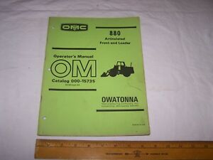 1974 Omc 880 Front End Articulated Loader Operators Manual 000 15735 Owatonna