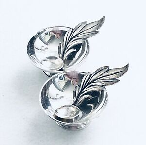 Vintage Set Of Raimond Sterling Silver Salt Cellars And Leaf Spoons