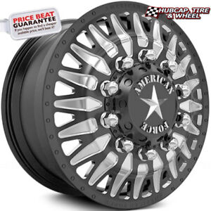 American Force Realm 24 x8 25 Black Dually Wheels set Of 6 forged