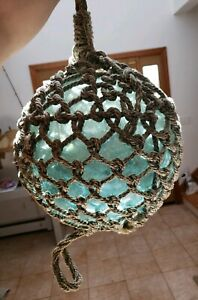 Antique Japanese Large Glass Fishing Float Buoy Ball Roped Net 40 C 12 D