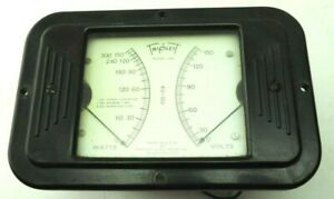 Vintage Triplett Watt And Voltage Meter Tested Model 661 0 150 Vac 0 150 300 W