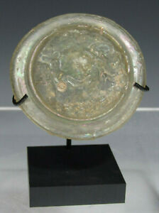 Ancient Antique Roman Glass Roundel Once A Lid For A Vessel Ca 200 Ad