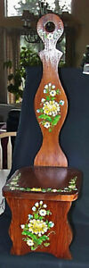 Outstanding Antique Hand Painted Light Brown Stain Child S Pouting Chair