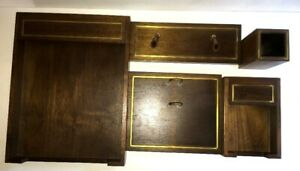Desk Set Solid Walnut By Hyde Park Mass 5 Pieces Made In Usa Vintage