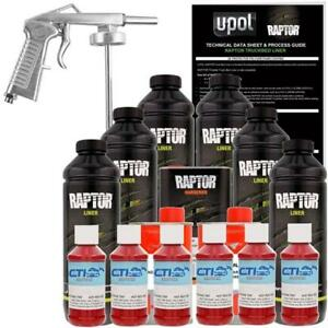 U Pol Raptor Hot Rod Red Urethane Spray On Truck Bed Liner W Free Spray Gun 6l