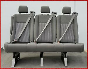 3 Passenger Gray Cloth Reclinable Bench Seat With Arm Universal Fit most Cars
