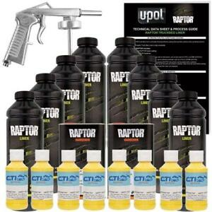 U pol Raptor Safety Yellow Urethane Spray on Truck Bed Liner W free Spray Gun 8l