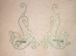 Vintage Metal Candle Wall Sconces Lot Of 2 19 X 12 Each