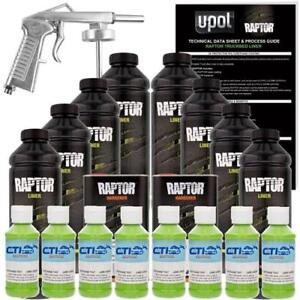 U Pol Raptor Lime Green Urethane Spray On Truck Bed Liner W Free Spray Gun 8 L