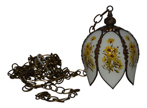Vintage Slag Tulip Ceiling Hanging Lamp With Chain Light Fixture