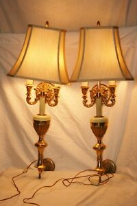 Beautiful Pair Of 1970 S Hang On Wall Mount Plug In Electric Wall Lamps