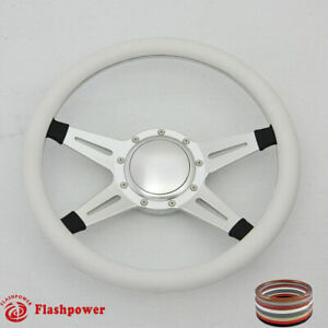 14 Billet Steering Wheel White Half Wrap Horn Button Camino Scrambler