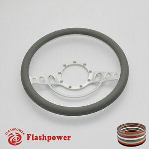 15 5 Billet Steering Wheel Grey Half Wrap Ford Gm Cutlass Impala Malibu