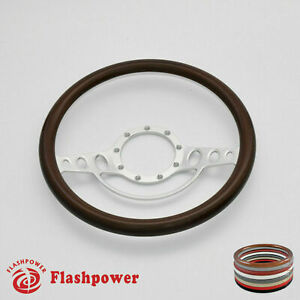 15 5 Billet Steering Wheel Wood Half Wrap Ford Gm Cutlass Impala Gmc