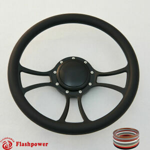 14 Billet Steering Wheel Black Half Wrap Ford Gm Cutlass Impala Gmc W H