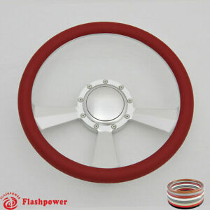 14 Billet Steering Wheel Red Half Wrap Ford Gm Cutlass Impala Chevy W Horn