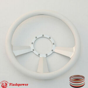 14 Billet Steering Wheel White Half Wrap Ford Gm Cutlass Impala Chevy