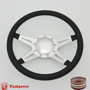 14 Billet Steering Wheel Black Full Wrap Ford Gm Corvair Impala Chevy W Horn