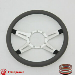 14 Billet Steering Wheels Dark Gray Half Wrap Ford Corvair Impala Gmc