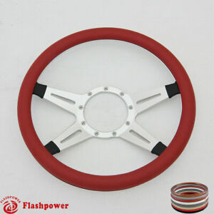 14 Billet Steering Wheels Red Half Wrap Ford Gm Corvair Impala Chevy Ii
