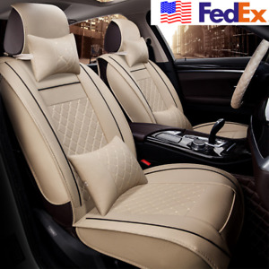 2x Car Front Driver Passenger Seat Cover Beige Pu Leather Universal pillow Usa