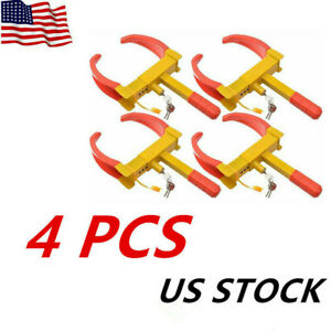 4 X Wheel Tire Lock Clamp Boot Anti Theft Claw For Auto Car Truck Rv Boat Towing