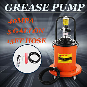 5 Gallons Air Operated High Pressure Grease Pump With 15ft Hose Gun Lubricator
