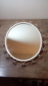 Vintage Heavy Wrought Iron Framed Mirror With Bevelled Glass