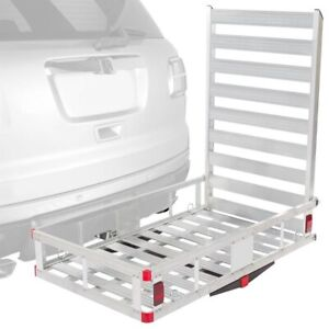 Hitch Cargo Carrier Anti Rattle Device Suv Vans Aluminum Ramp Folding Haul Truck