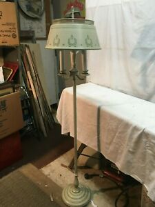 Vintage Mid Century Tole Floor Lamp 55in Country Cottage Farm House 3 Way Light