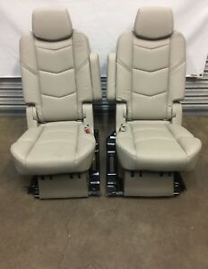 2015 2019 Escalade Tahoe Yukon 2nd Second Row Shale Tan Leather Bucket Seats